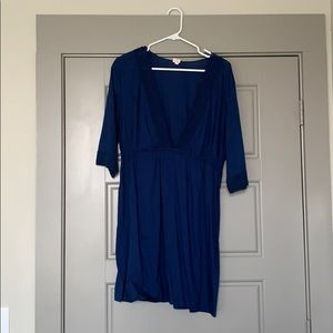 Navy Blue and Lace Cotton Dress
